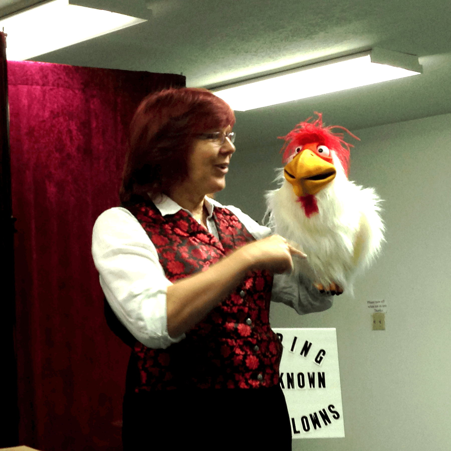 Stephanie Beach performs magic with her puppet assistant Beakstone the magic chicken.
